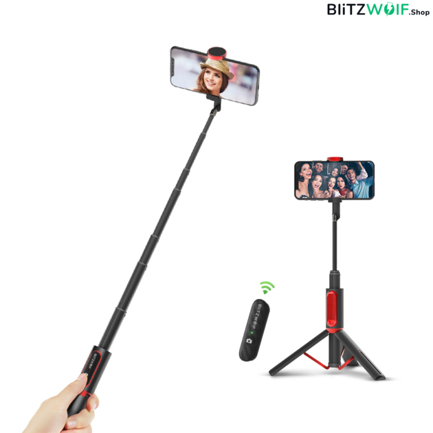 BlitzWolf® BW-BS10: ultakompakt alumínium selfie bot okostelefonhoz - Fekete