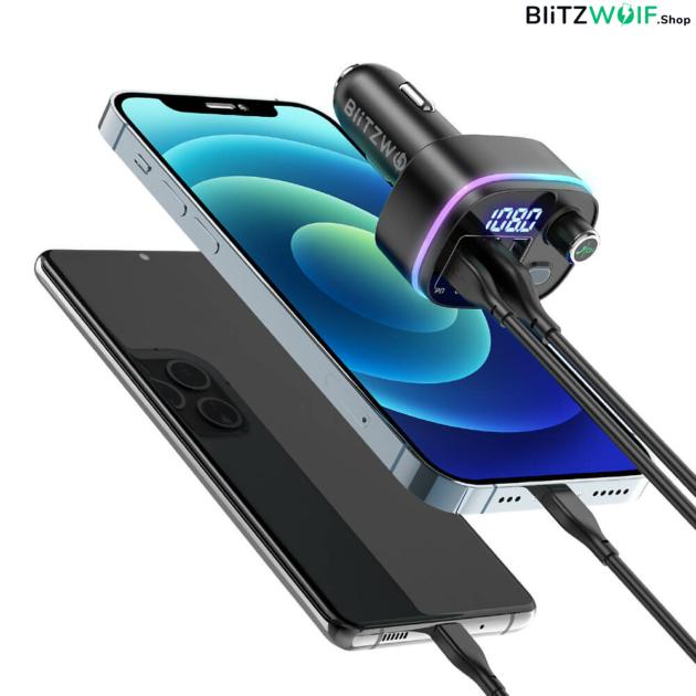 BlitzWolf® BW-BC2: Bluetooth 5.0 FM adó / 18W PD + QC3.0 USB autós töltő