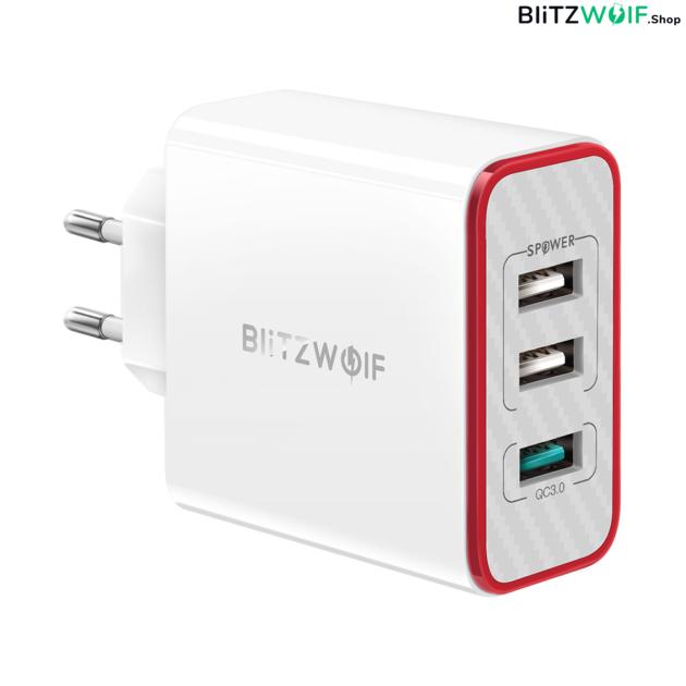 BlitzWolf® BW-PL2: 3 portos USB hálózati gyorstöltő - 38W 1