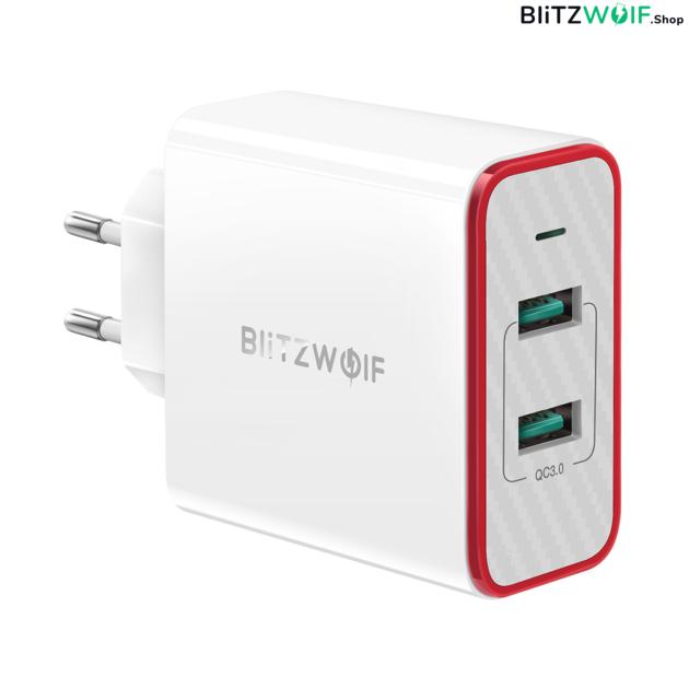 BlitzWolf® BW-PL3: Dual USB hálózati gyorstöltő - 36W 1