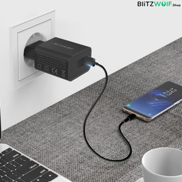 BlitzWolf® BW-S12: 27W-os gyorstöltő adapter Type-C porttal (QC4+, QC4.0, QC3.0, PD)  - Apple, Huawei, Samsung, Xiaomi gyorstöltés