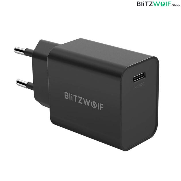 BlitzWolf® BW-S12: 27W-os gyorstöltő adapter Type-C porttal (QC4+, QC4.0, QC3.0, PD) - biztonságos töltés