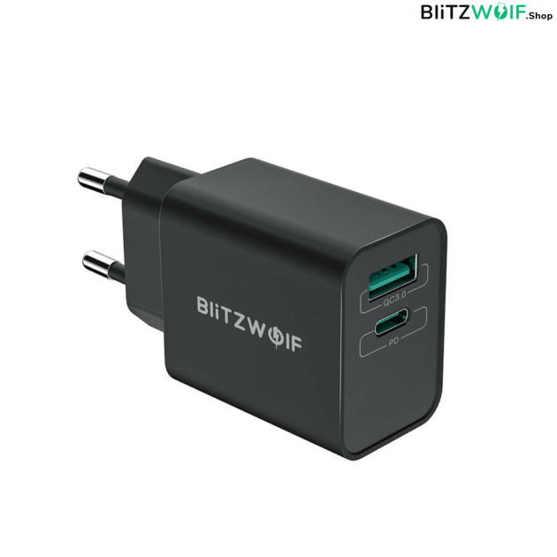 BlitzWolf® BW-S14: 18W-os gyorstöltő adapter Type-C és USB porttal 1