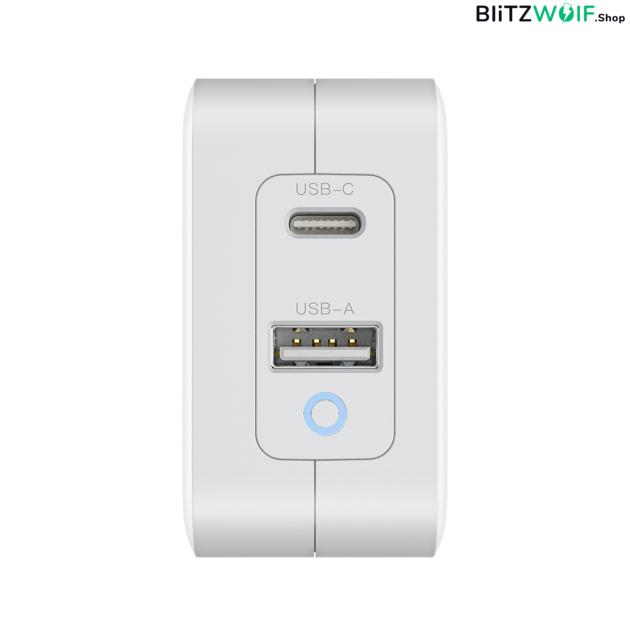 BlitzWolf® BW-S18: 65W-os gyorstöltő adapter dupla töltő porttal (GaN tech) 1