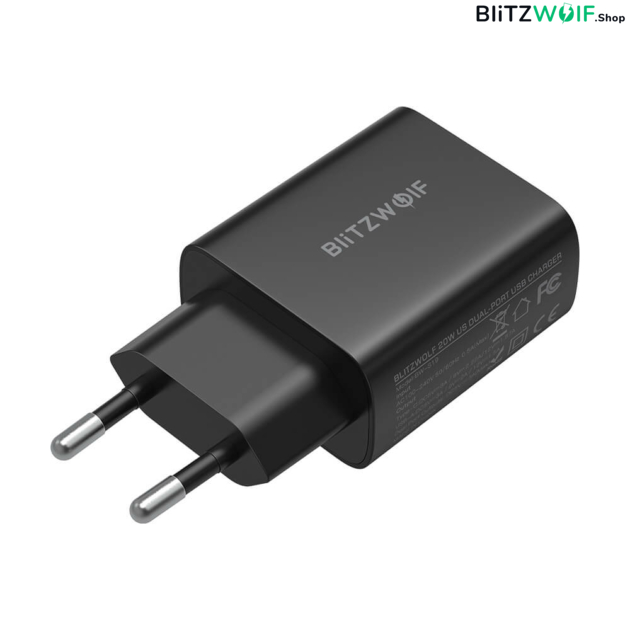 BlitzWolf® BW-S19: 20W-os töltő adapter dupla töltő porttal