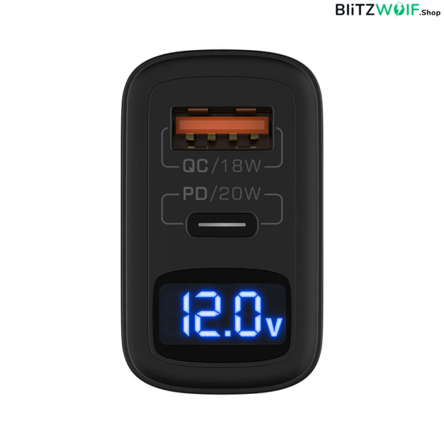 BlitzWolf® BW-S19: 20W-os töltő adapter dupla töltő porttal 1