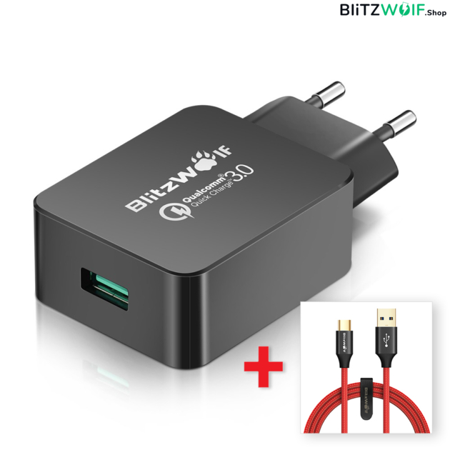 BlitzWolf® BW-S5: USB hálózati gyorstöltő - 18W + USB 3.0 Type-C töltő- és adatkábel (1