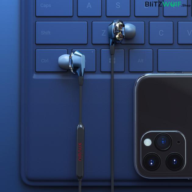 BlitzWolf® AirAux AA-HE2: Dual Dynamic Driver mikrofonos fülhallgató 3.5mm csatolakozóval