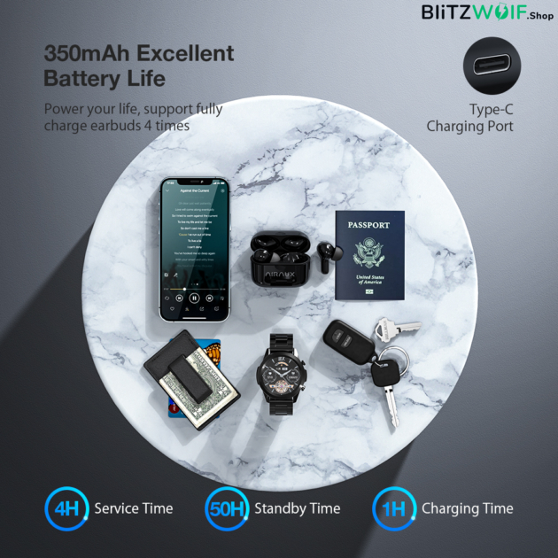 BlitzWolf® AirAux AIRAUXUM11: TWS Bluetooth fülhallgató mély basszussal