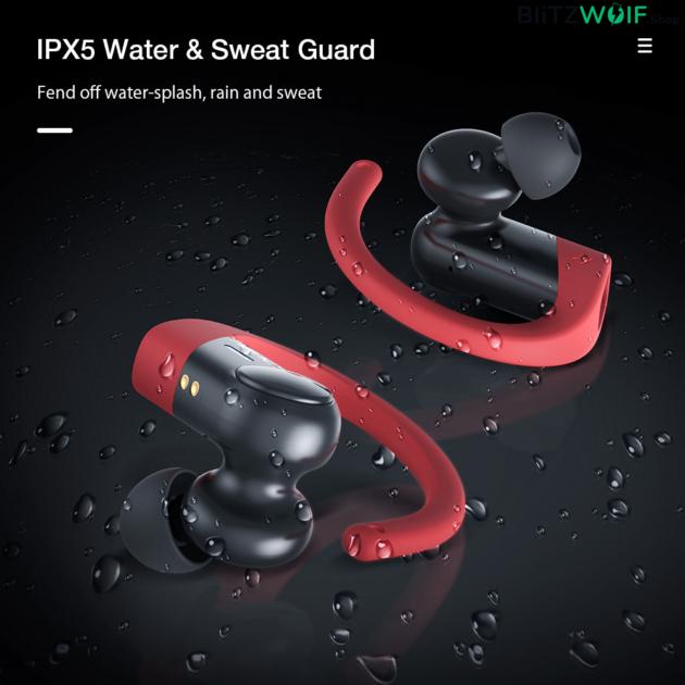 BlitzWolf® AIRAUX AIRAUXUM12: vezeték nélküli fülhallgató sportoláshoz (IPX5)