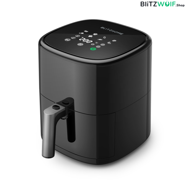 BlitzHome ® BW-AF2: intelligens olaj nélküli forró levegős fritőz digitális kijelzővel, 5l kapacitás, 1500W - APP vezérléssel