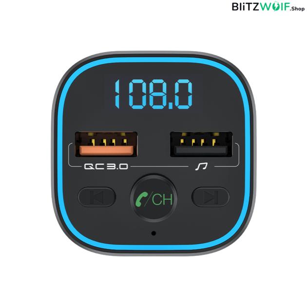 BlitzWolf® BW-BC1: USB szivargyújtóba dugható autós töltő és FM transzmitter