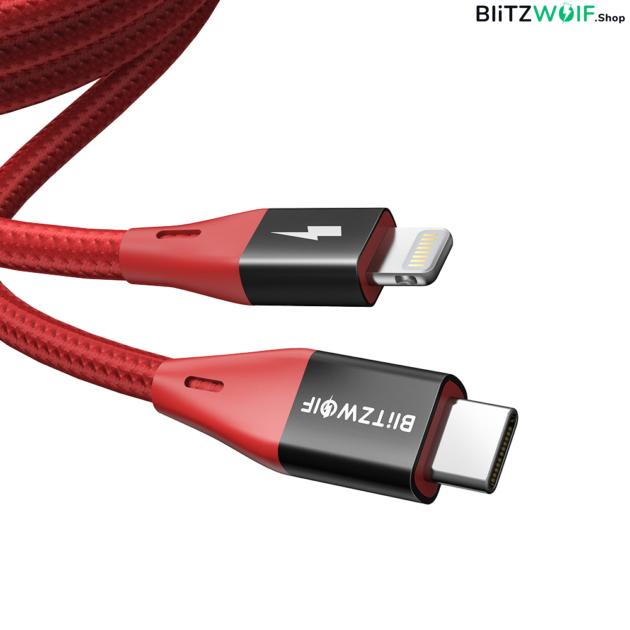 BlitzWolf® BW-CL3: Type-C Lightning gyorstöltő és adatkábel (PD 3.0) - 180 cm