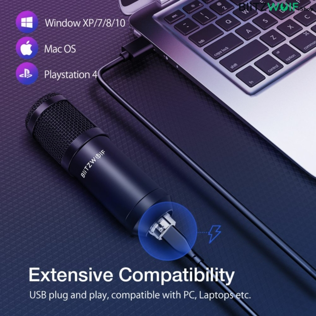 BlitzWolf® CM: streamer mikrofon