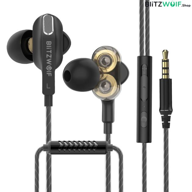 BlitzWolf® BW-ES6: 3,5mm csatlakozóval ellátott gamer fülhallgató mikrofonnal 1