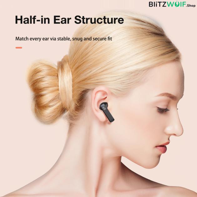 BlitzWolf® BW-FPE1: teljesen vezeték ultavékony ENC fülhallgató töltődobozzal