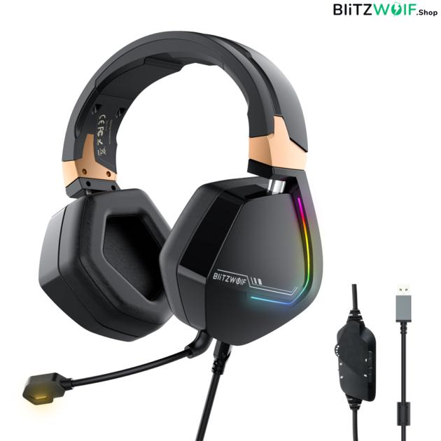 BlitzWolf® BW-GH2: 7.1 gamer fejhallgató RGB leddel