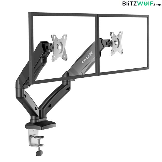 BlitzWolf® BW-MS3: Dual Monitor állvány asztalra pneumatikus karral