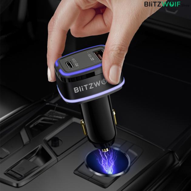 BlitzWolf ® BW-SD8: USB szivargyújtóba dugható autós töltő Type-C (100W) és USB (18W) porttal