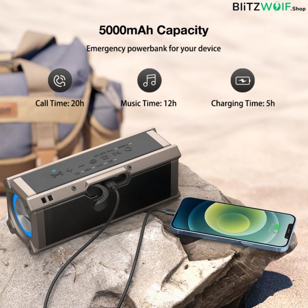BlitzWolf® BW-WA3: 5000mAh vezeték nélküli Bluetooth hangszóró beépített mélynyomóval (100W)