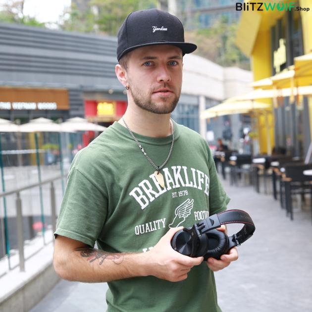 OneOdio A70: vezeték nélküli DJ, studió fejhallgató - Fekete