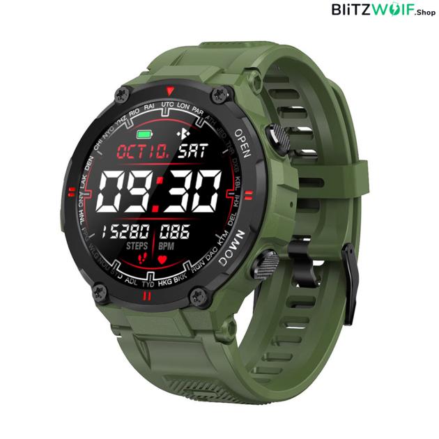 BlitzWolf BW-AT2: érintőkijelzős aktivitásmérő okosóra vérnyomás és pulzusmérővel - Zöld
