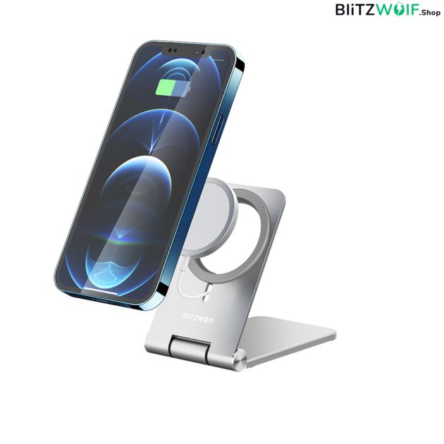 BlitzWolf® BW-TS5: MagSafe vezeték nélküli töltő állvány - ezüst