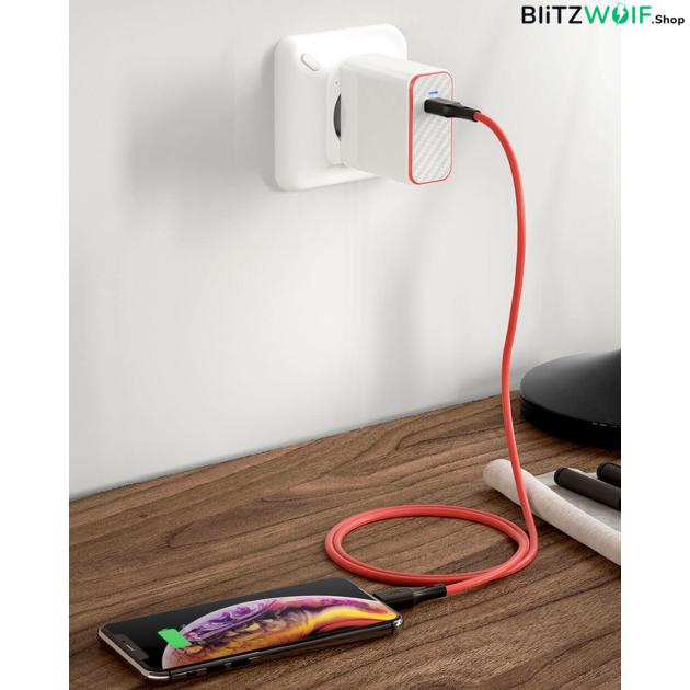 BlitzWolf® BW-CL2: Type-C Lightning gyorstöltő és adatkábel (PD 3.0) - 0.9 m