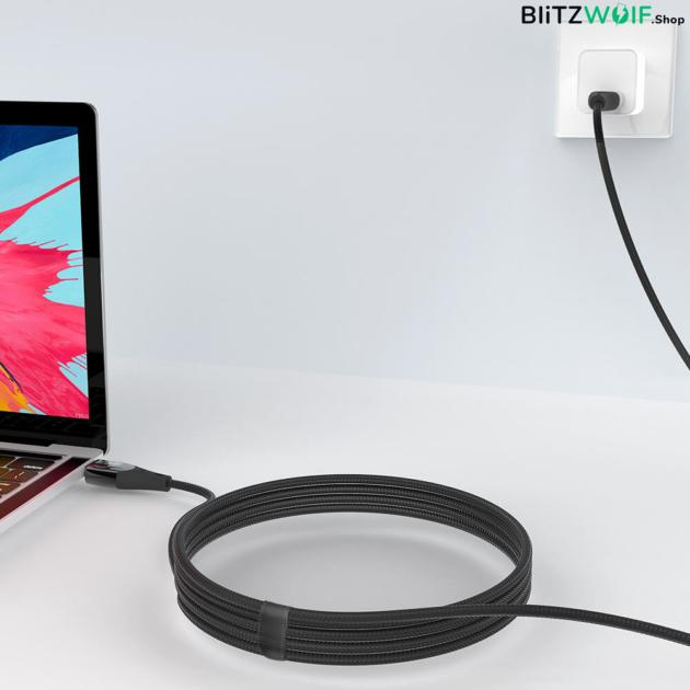 BlitzWolf® BW-FC1: Type-C - Type-C USB kábel / 100W / 5A - 1.8m