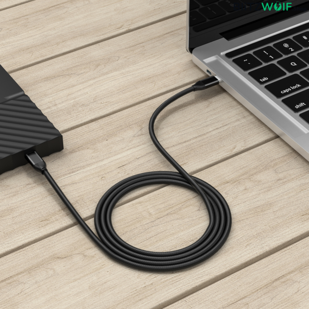 BlitzWolf® BW-HDC3: USB3.1 Gen2 Type-C - Type-C 100W-os gyorstöltésre képes kábel (1.8m)