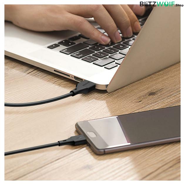 BlitzWolf® BW-MC13: USB 3.0 Micro USB töltő- és adatkábel PVC bevonattal (1m) - Fekete 7