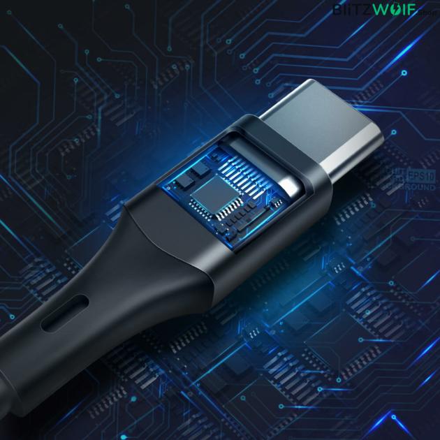 BlitzWolf® BW-TC17: Type-C töltő- és adatkábel PVC bevonattal