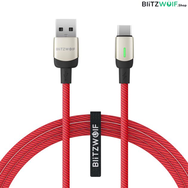 BlitzWolf® BW-TC21: Type-C kábel extra erős bevonattal és LED fényjelzéssel - 1.8m
